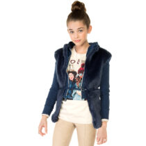 Mayoral Girl Faux Fur Vest with Belt
