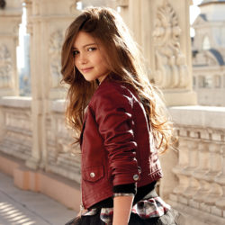 Girl Leatherette Jacket with Rivets