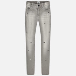 Girl Long Denim Trousers with Strass