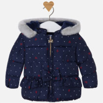Baby girl navy padded coat with faux fur on hood