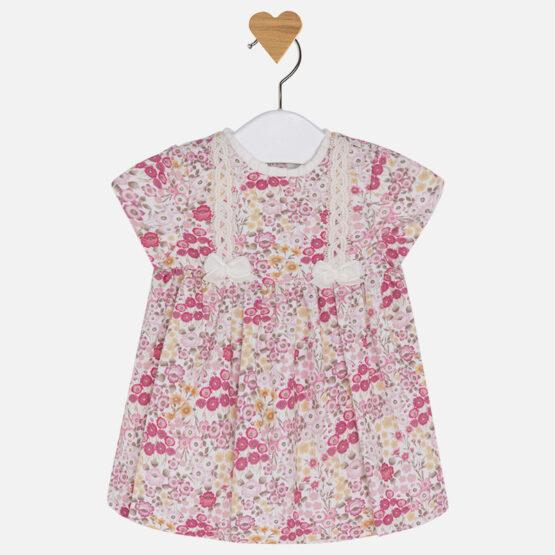 Baby girl short sleeve patterned dress