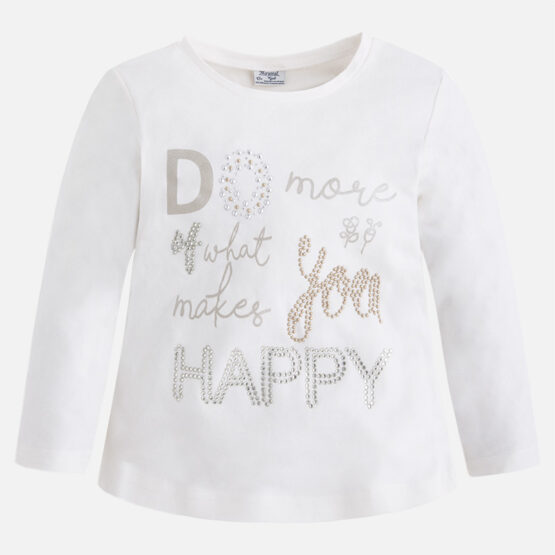 Mayoral Girl Long Sleeve T-shirt with Strass and Rivets