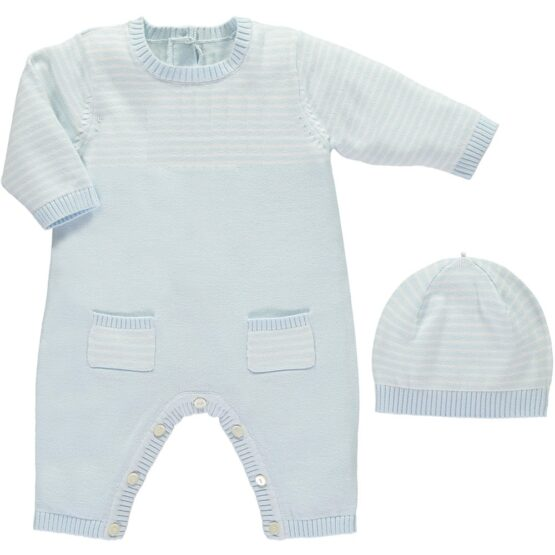 Emile et Rose Leo Blue Stripe All in One with Hat