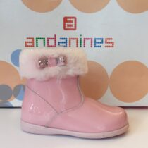Andanine pink patent leather ankle boot with fur trim