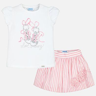 Mayoral Satin Skirt and T shirt Set