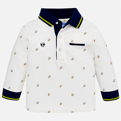 Mayoral Patterned Long Sleeve Polo 2108
