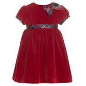 Patachou Red Velvet Dress with Tartan
