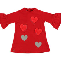 Sarabanda Trapeze Dress With Faux Fur Hearts