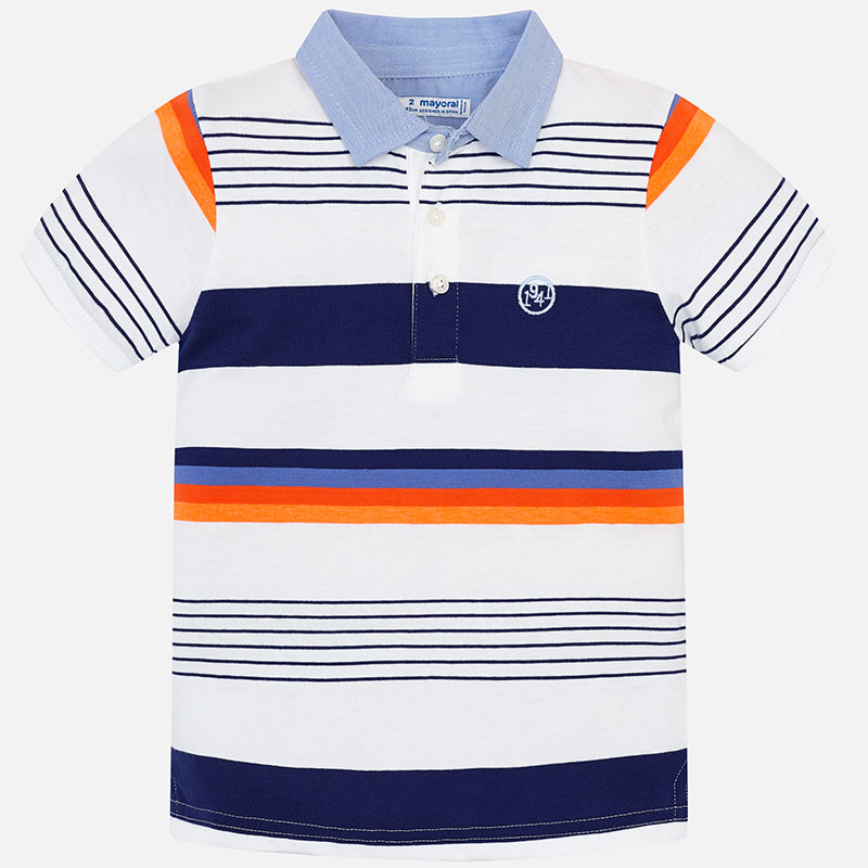 7528bf657 Mayoral Short Sleeved Block Striped Polo Shirt 3114 - Childrens ...