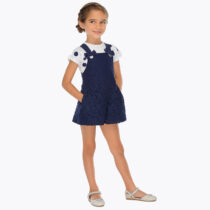 Mayoral Short Lace Dungarees and T-shirt Set 3602 3012