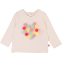 Billieblush Pom Pom Heart Long Sleeve T-Shirt