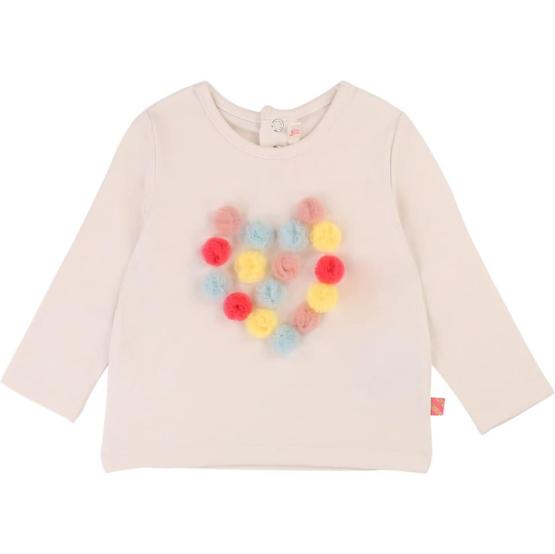 Billieblush Pom Pom Heart Long Sleeve T-Shirt