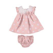 Mayoral pink polka dot dress and pants 1871