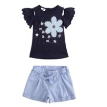 iDO 100% cotton jersey girl t-shirt with maxi embroidery J756 & Girl shorts of yarn-dyed stretch cotton blend fabric J776