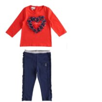 iDO Red amore long sleeved t shirt & Stretch cotton girls leggings with ruffles on the hips
