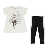 Mayoral City print t-shirt and leggings set 6719 (black)