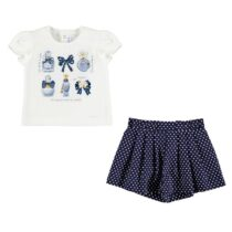 Mayoral T-shirt and polka dot shorts set (navy) 1211