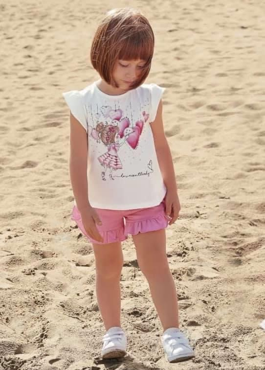 iDO girl with hearts top and short set J761