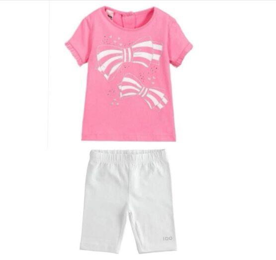 iDO 100% cotton half sleeve girl t-shirt with bows and rhinestones print J766 & white shorts
