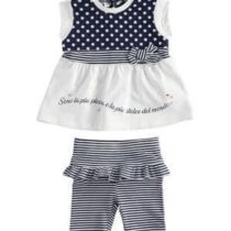 iDO outfit with t-shirt with polka dots and striped leggings J656