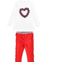 iDO Amore t shirt & Stretch cotton girls leggings with ruffles on the hips
