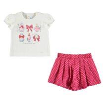 Mayoral T-shirt and polka dot shorts set (strawberry) 1211