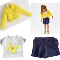 iDO Denim-effect jacket with rhinestones J354 Girls cotton t-shirt with butterfly graphics with rhinestones J322  Blue shorts for girls of light Milano stitch J337