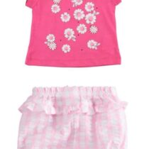 iDO 100% cotton t shirt with daisies J632 & Culotte checked shorts J636