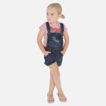 Mayoral Striped T-Shirt And Short Denim Dungarees Set 3005-3632