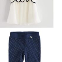 iDO Stretch cotton girl t-shirt with voile insert and embroidered edge J310 iDO leggings in Milano stitching J330