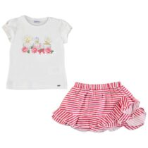Mayoral T-Shirt With Striped Skirt Set 3964