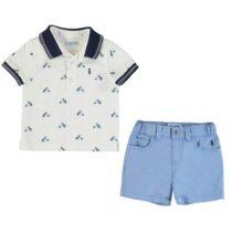Mayoral Patterned Polo Shirt And Shorts Set 1295