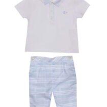 Patachou jersey white polo 3033090 & striped trousers