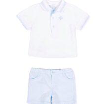 Tutto Piccolo short sleeve polo shirt in plain weave pique 8814 & Twill Bermuda shorts set 8313