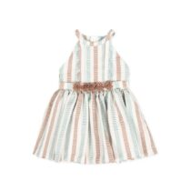Tutto Piccolo Special striped sleeveless dress with soft lining. Wavy print and belt with chiffon flowers 8220