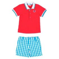 Tutto Piccolo Short sleeve polo shirt in plain weave pique 8817 & Shorts in turquoise gingham plaid fabric 8317