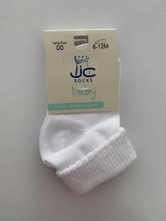 Infant white fold over top sock