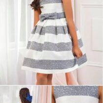 Abel & Lula navy stripe dress
