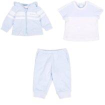 Tutto Piccolo Plush jacket 8823 & trousers set  8120 & Plain knit blue and white short sleeve T-shirt 8623