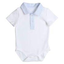 Gymp romper combi stripe (white/light blue) 0479
