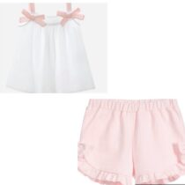 Patachou cotton satin white top 3033225 & Girls Ruffle & Bow Shorts – Pink 3033224