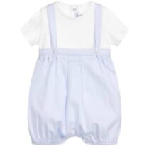 Absorba Baby Boy Pale Blue Shortie Dungaree with White T-shirt Set 9Q37041