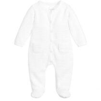 Absorba White Cotton Velour striped  Babygrow 9Q54090