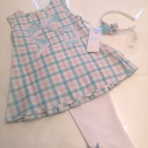 Daga Checked Dress And White Legging Set With Hairband M7834-4
