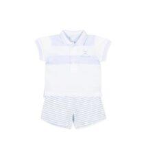 Tutto Piccolo Short sleeve plain knit white and striped bodysuit 8682