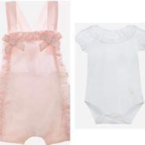 Patachou Cotton satin pink romper 3033009 & Patachou Lace Frilled Bodysuit 3033004