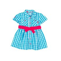 Tutto Piccolo Turquoise gingham plaid shirt dress with fuchsia accents 8217