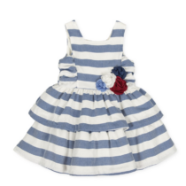 Tutto Piccolo Satin dress with blue and white stripes, ruffles and decorative flower 8434