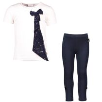Le Chic Ivory T-Shirt with Navy Blue Bow And Leggings with Gems 294704-294720