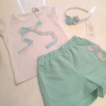 Daga Mint Green Shorts Set With Bow Detail And Hairband M7831-2